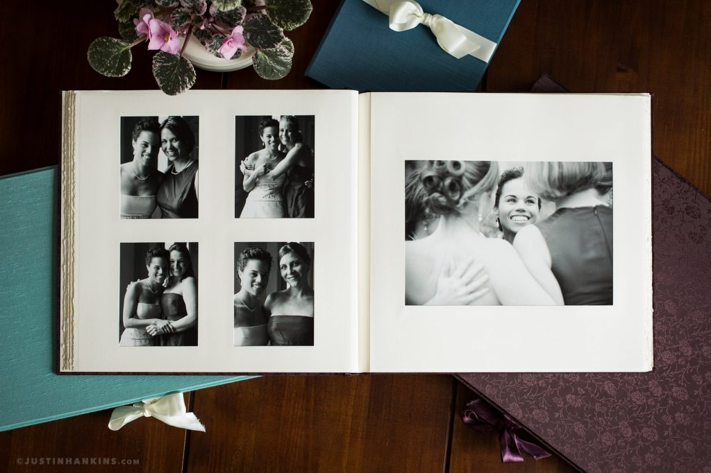 Sample photo of classic linen matted wedding albums produced in California. Provided by Justin Hankins Photography.