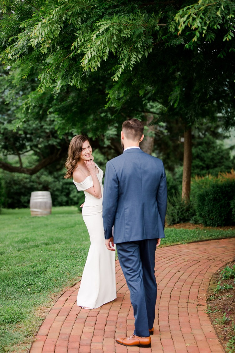 Bride and Groom First Look - Veritas Vineyard & Winery in Afton Virginia