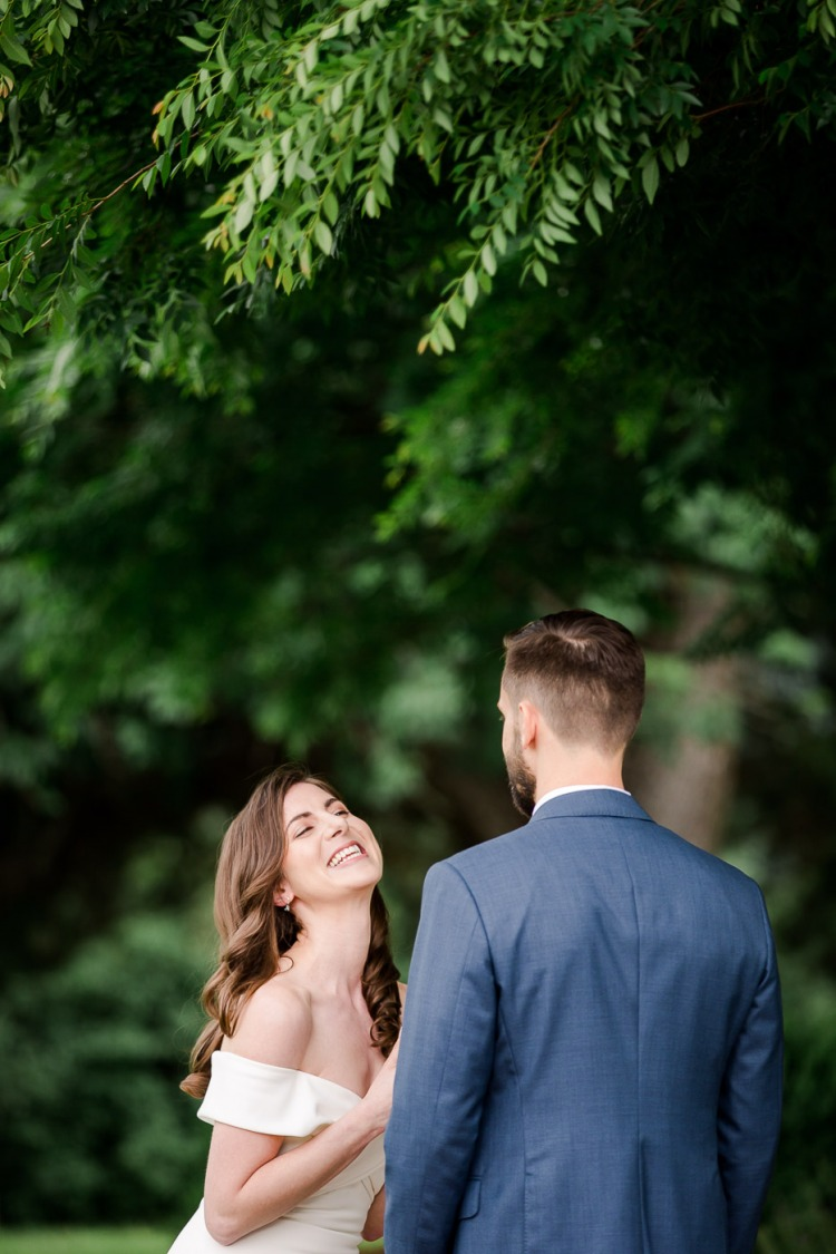 Bride and Groom First Look - Veritas Winery in Afton Virginia