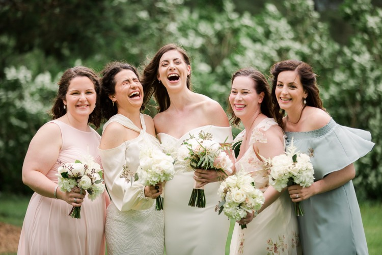 Bridal Party Photos at Veritas Vineyard and Winery Farmhouse