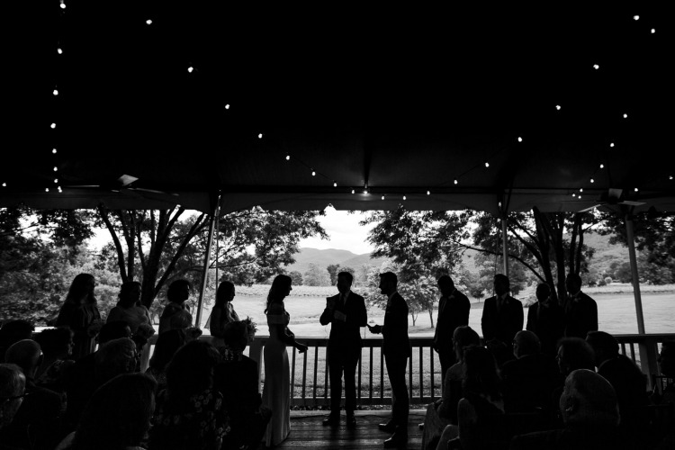 Outdoor Wedding Ceremony in the Rain